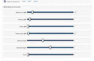lithophane : site model settings